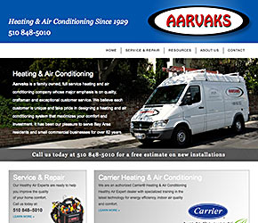 Aarvaks Heating & Air Conditionong home page